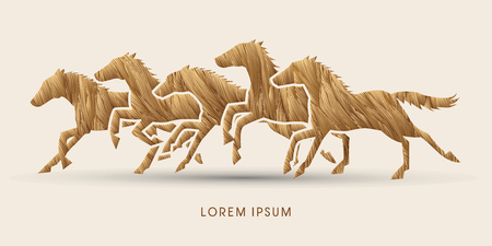 trotter: 5 horses running, designed using brown grunge brush graphic vector.