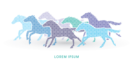 horses running: 7 horses running, designed using luxury geometric pattern graphic vector.