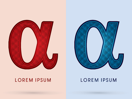 alpha: Alpha Luxury Font designed using read and blue, hot and cool tone, geometric pattern graphic vector. Illustration