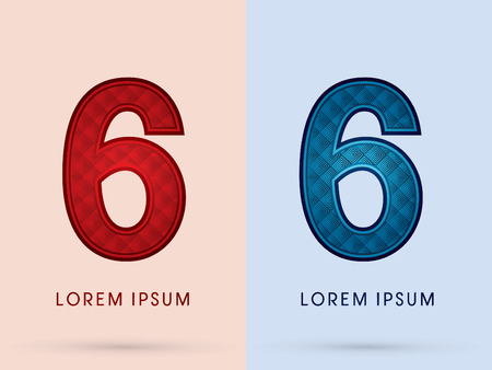 sixth birthday: 6 Luxury Font designed using read and blue, hot and cool tone, geometric pattern graphic vector.