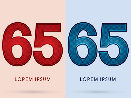 65: 65 Luxury Font designed using read and blue, hot and cool tone, geometric pattern graphic vector.