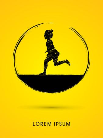 freedom woman: Children, Little girl running designed using grunge brush graphic vector.