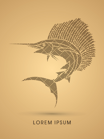 sailfish: El pez vela de salto, diseñado con el patrón de lujo del gráfico de vector.