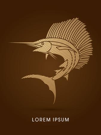 sailfish: Sailfish Jumping, designed using gold circle line graphic vector. Illustration
