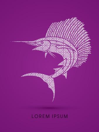 pez vela: El pez vela de salto, diseñado con el patrón de lujo del gráfico de vector.