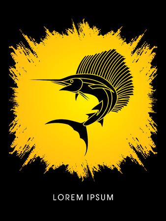 pez vela: El pez vela de salto, dise�ado en el fondo salpicaduras de tinta vector de gr�fico.