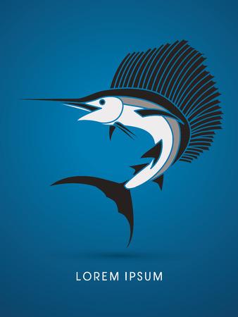 sailfish: El pez vela Saltar, diseñado con los colores blanco y negro de gráficos vectoriales. Vectores