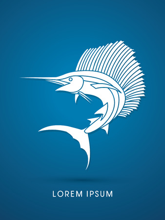 pez vela: Sailfish Salto gr�fico vectorial.