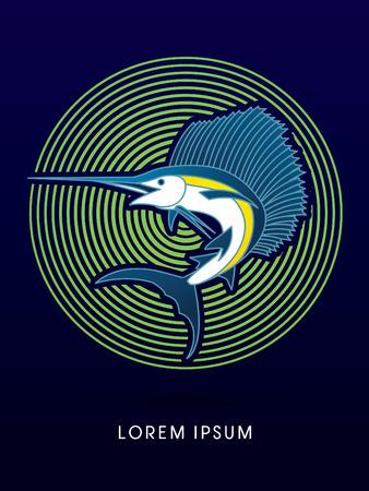 pez vela: El pez vela de salto, diseñado en el círculo de línea de fondo gráfico vectorial.