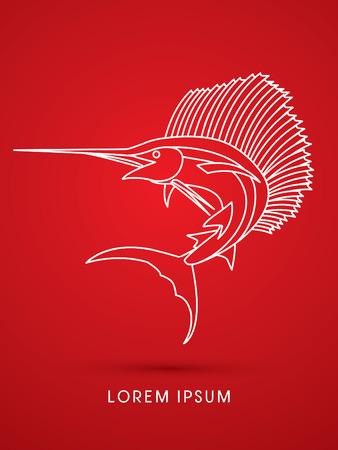 sailfish: El pez vela de salto, vector esquema gráfico.