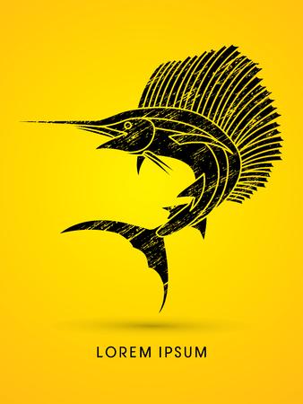 sailfish: El pez vela de salto, diseñado usando cepillo del grunge de gráficos vectoriales. Vectores