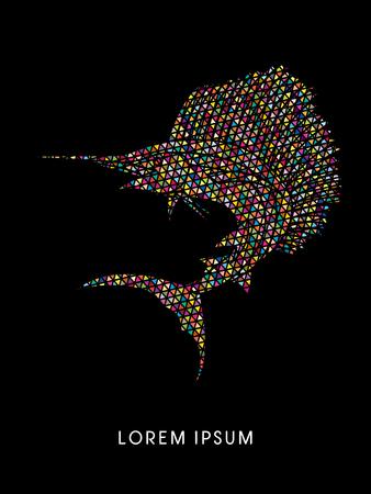 pez vela: El pez vela Saltar, dise�ado utilizando el patr�n de mosaico de colores de gr�ficos vectoriales.