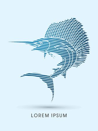 sailfish: El pez vela Saltar, diseñado utilizando el patrón de onda línea de gráfico vectorial. Vectores