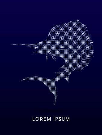 sailfish: El pez vela Saltar, diseñado usando punto y patrón cuadrado gráfico vectorial. Vectores