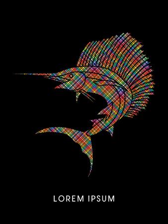 pez vela: El pez vela de salto, diseñado con píxeles de colores de gráficos vectoriales.