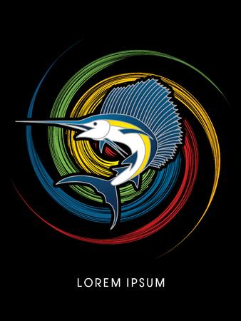 pez vela: El pez vela de salto, dise�ado en el fondo giro de la rueda de gr�ficos vectoriales. Vectores