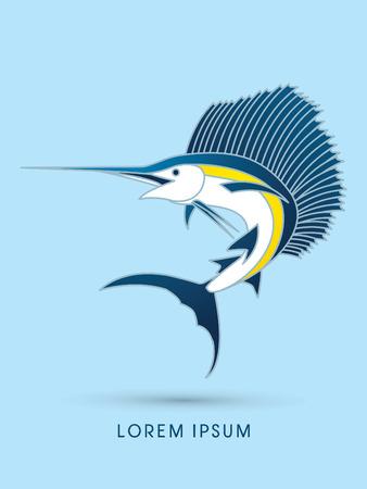 pez vela: Sailfish Saltar, gráfico vectorial. Vectores
