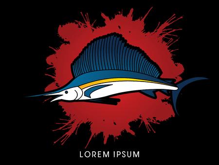 sailfish: El pez vela, diseñado en el fondo salpicaduras de sangre gráfico vectorial. Vectores