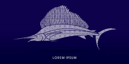 sailfish: El pez vela, diseñado con el patrón de lujo del gráfico de vector.