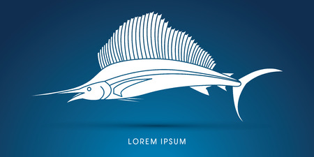 sailfish: Pez Vela, silueta gráfico vectorial.