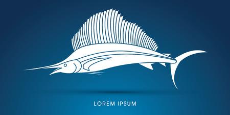sailfish: Sailfish, silhouette graphic vector.