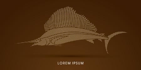 sailfish: Pez Vela, diseñado usando punto y patrón cuadrado gráfico vectorial. Vectores