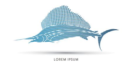 pez vela: Pez Vela, dise�ado utilizando la onda de l�nea azul del gr�fico de vector. Vectores