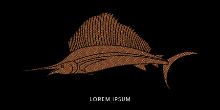 pez vela: El pez vela, dise�ado con el patr�n de lujo del gr�fico de vector.
