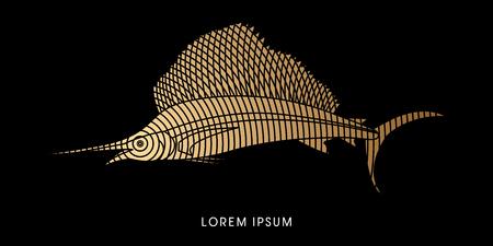 pez vela: Pez Vela, dise�ado usando la l�nea del c�rculo de oro del gr�fico de vector.