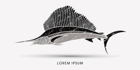 pez vela: El pez vela, dise�ado usando cepillo del grunge de gr�ficos vectoriales.