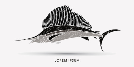 sailfish: Sailfish, designed using grunge brush graphic vector.