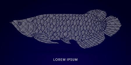 Arowana Fish, Designed using luxury geometric pattern graphic vector.