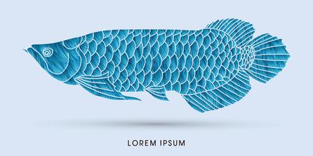 cichlid: Blue Arowana Fish, designed using grunge brush graphic vector.