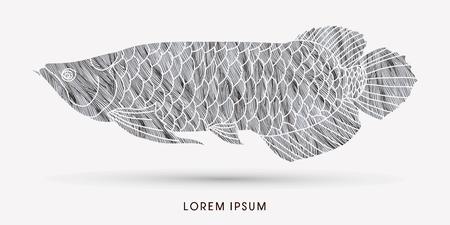 Silver Arowana Fish, designed using grunge brush graphic vector. Illustration