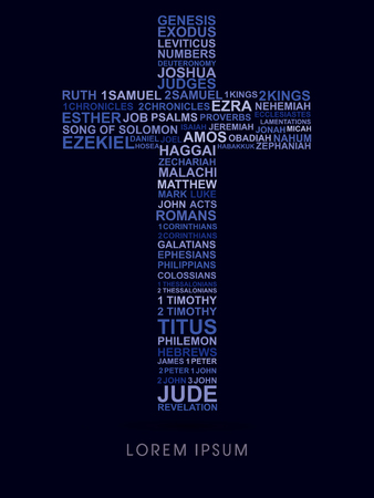 revelation: Cross, designed using bible words genesis to revelation graphic vector. Illustration