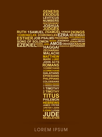bible and cross: Cross, designed using bible words genesis to revelation graphic vector. Illustration