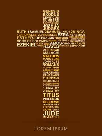 bible background: Cross, designed using bible words genesis to revelation graphic vector. Illustration