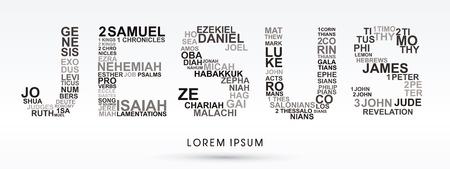 Gesù, progettato utilizzando le parole della Bibbia Genesi all'Apocalisse grafica vettoriale.