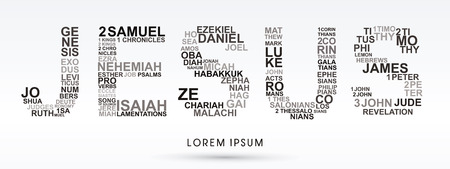 jesus illustration: Jesus, designed using bible words genesis to revelation graphic vector.