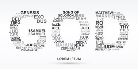 GOD, designed using bible words genesis to revelation graphic vector. Vettoriali