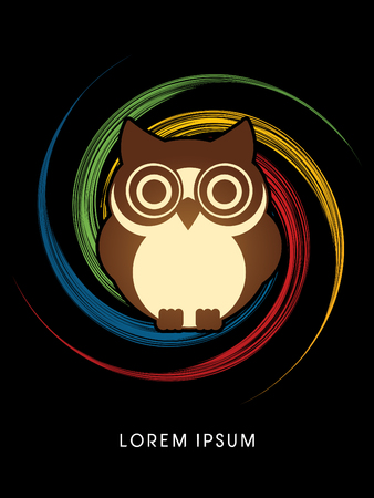 spin: Owl, designed on spin circle graphic vector.