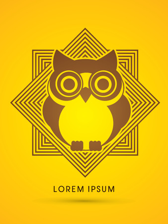 head wise: Owl, designed on line square graphic vector.