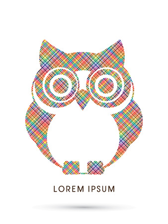 head wise: Owl, designed using colorful pixels graphic vector.