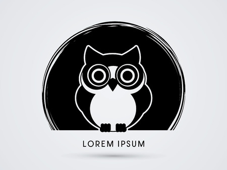 Owl, designed on black circle background graphic vector. Illustration
