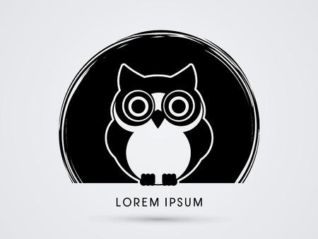 Uil, ontworpen op een zwarte cirkel achtergrond afbeelding vector.