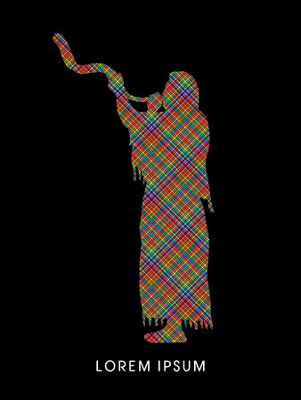 sukkah: A Man Blowing the shofar , designed using colorful line pixels graphic vector. Illustration