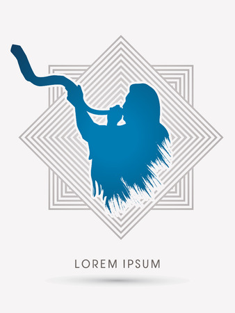 A Man Blowing the shofar , designed using grunge brush on line square background graphic vector. Vector Illustration