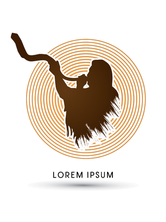 yom kippur: A Man Blowing the shofar , designed using grunge brush on line circle background graphic vector. Illustration