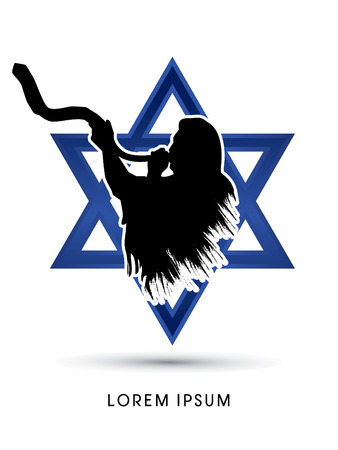 israel people: A Man Blowing the shofar , designed using grunge brush on Israel star background graphic vector.