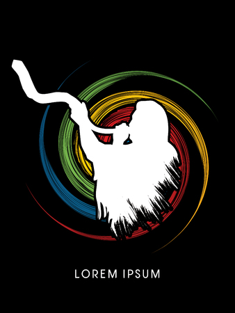 shofar: A Man Blowing the shofar , designed using grunge brush on spin wheel background graphic vector.